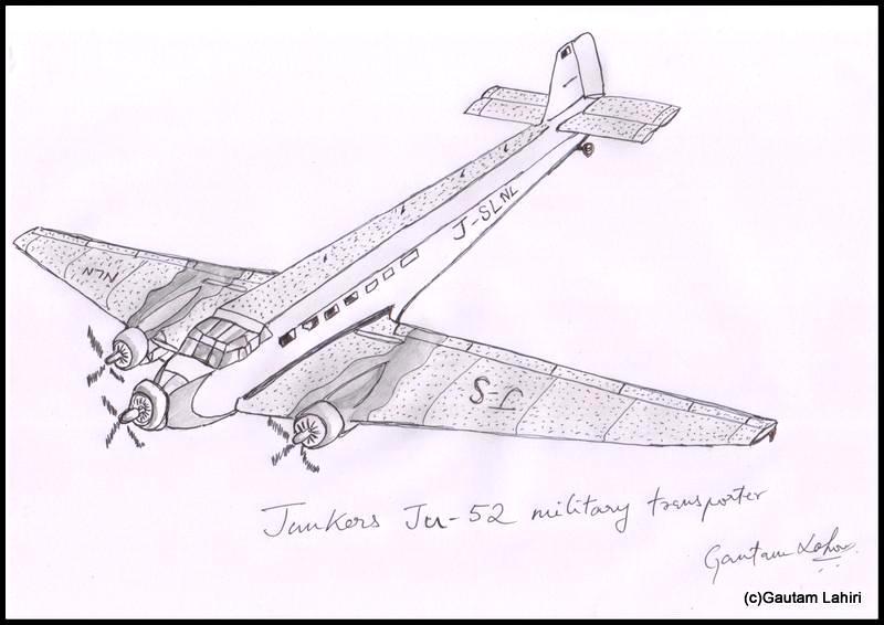 junkers ju 52 1941 drawn by Gautam Lahiri