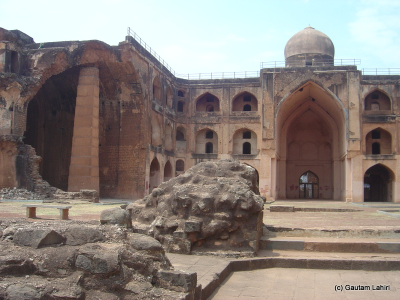 A section of the madarasa completely destroyed as we explored the edifice from the grounds from Hyderabad to Bidar by Gautam Lahiri