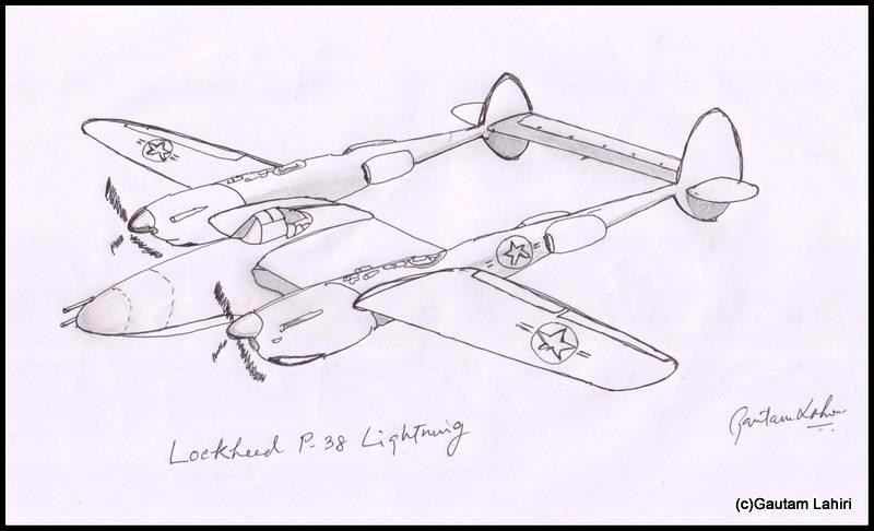 lockheed p38 lightning 1939, drawn by Gautam Lahiri