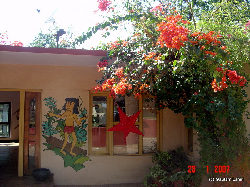 The Pench officials made a very friendly restaurant rendered with the painting of 'Mowgli' the famous Jungle Book boy character at Pench forest by Gautam Lahiri