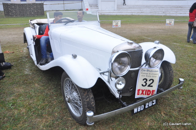 The long white bonnet of the 1933 Alvis housed her 20 HP 6 cylinder engine, was indeed making a bold statement  at Kolkata, West Bengal, India by Gautam Lahiri