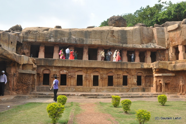 Rani Gumpha, the cave 1, as they say, has exquisitely designed sculptures and offered air-conditioned ambient air when we climbed into it  at Bhubaneshwar, Odissa, India by Gautam Lahiri