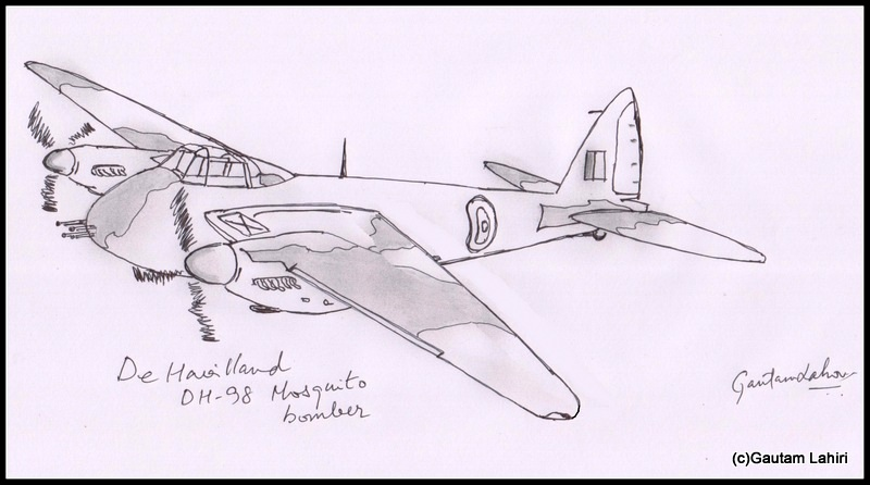 de havilland mosquito 1940 drawn by Gautam Lahiri