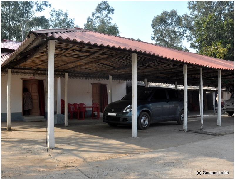The living quarters and the car shade juxtaposed preventing the arduous effort of carrying luggage  at Joypur forest, Bankura by Gautam Lahiri