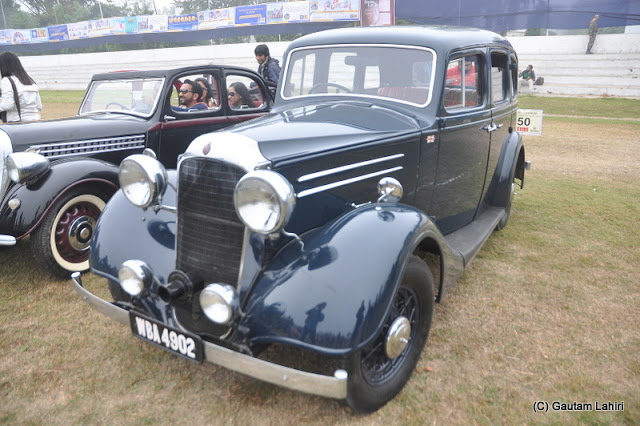 The two immaculately vintage regal ladies - 1936 Vauxhall DX, and 1936 Skoda Berlina, parked abreast, both housing a 15 HP, 4 cylinder mill  at Kolkata, West Bengal, India by Gautam Lahiri