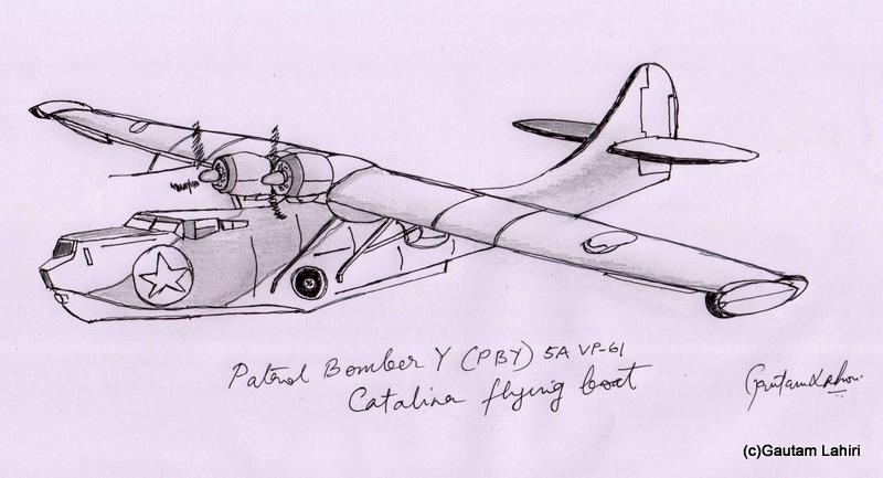 catalina Flying Boat PBY 1935 drawn by Gautam Lahiri