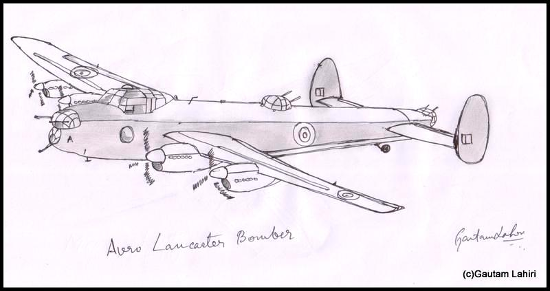 avro lancaster 1941 drawn by Gautam Lahiri