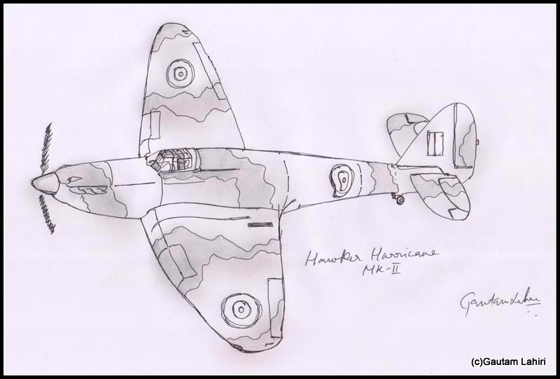 hawker hurricane 1935 drawn by Gautam Lahiri