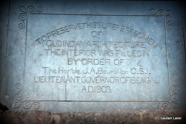 I saw this inscribed as I climbed the main temple courtyard which says that in 1903 on the orders of Sir James Austin Bourdillon, the Lieutenant Governor of Bengal, the temple was filled with stones  at Puri, Odisha, India by Gautam Lahiri