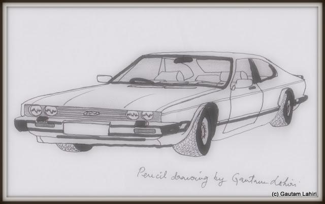 Ford Capri 2.8i, drawn by Gautam Lahiri