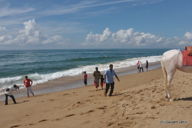 Groups of bathers found activities from horse and camel riding to playing frees bees and less adventurous were touching the sea  at Puri, Bhubaneshwar, Odisha, India by Gautam Lahiri