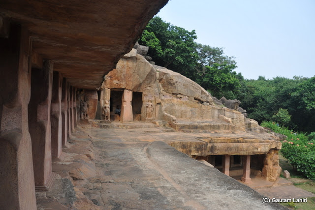 A view from the ancient veranda overlooking the rocky first floor..perhaps the king sat here, or roamed around and spoke to the subjects whom he ruled  at Bhubaneshwar, Odissa, India by Gautam Lahiri