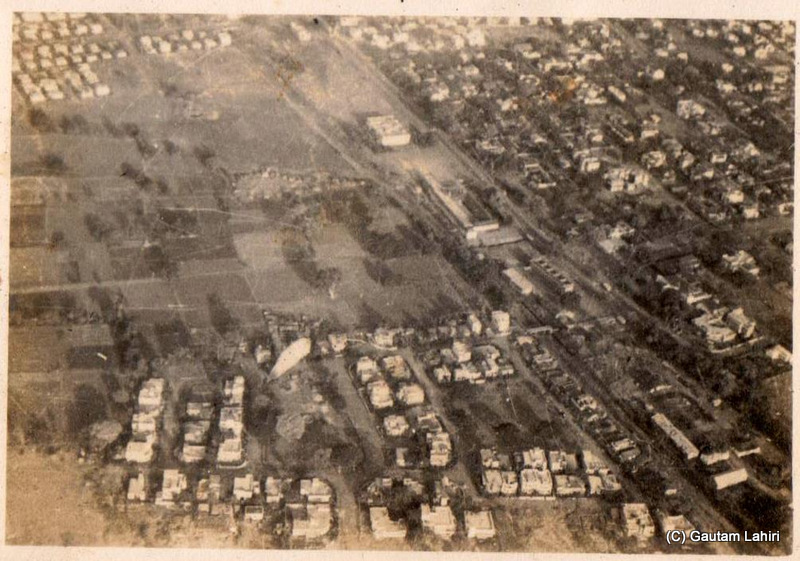 The Piper makes her round over the small city of Nagpur. Sparsely populated in 1966, compared to what it is today. Somewhere among those children's blocks, resided my parents..viewed from 1000 feet at Nagpur, India by Gautam Lahiri