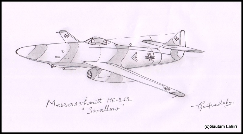 messerschmitt me 262 1941, drawn by Gautam Lahiri