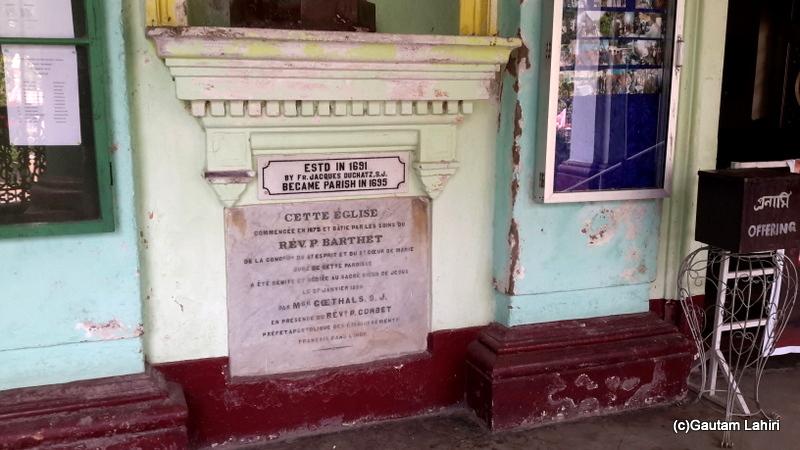 The tablet on the church wall depicting the history in Chandannagar by Gautam Lahiri
