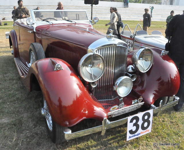 My hair had ruffled out, and used the fender to put it back in shape - it was shinning like a mirror - 1935 Bentley 3,1/2 liter 110 BHP beauty, she exuded power  at Kolkata, West Bengal, India by Gautam Lahiri