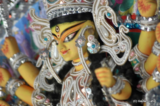 This is a 5 inches tall model of Durga deity..just look at the detailing in such a small figure at Krishnanagar, West Bengal, India by Gautam Lahiri