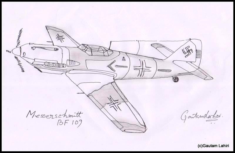 messerschmitt me bf 109 1935, drawn by Gautam Lahiri