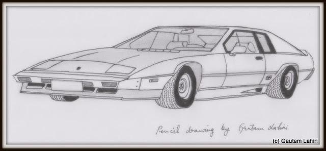 Lotus Esprit Turbo, drawn by Gautam Lahiri