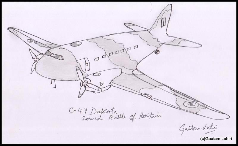 c47 dakota 1941 drawn by Gautam Lahiri