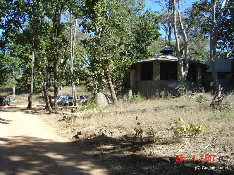 The globular structure was the Madhya Pradesh tourism restaurant which promised to serve us breakfast, lunch, and dinner. I had parked the Ambassador right in front at Kanha forest by Gautam Lahiri