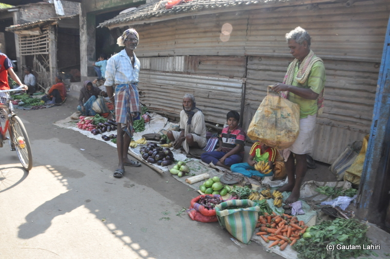 Eggplants, carrots, spinach, and bananas - all fresh being dumped for the early morning sale in Purbasthali by Gautam Lahiri