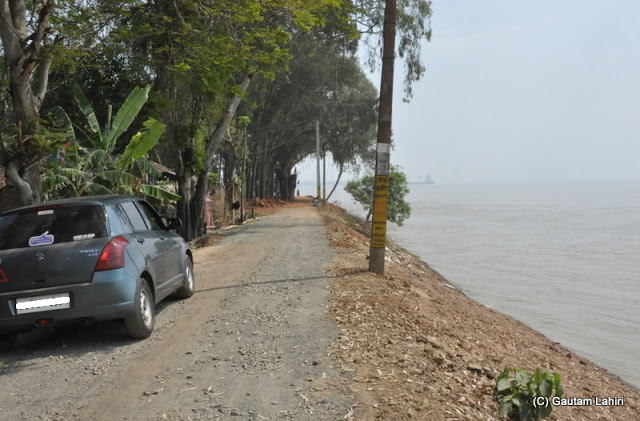 The river bank road hugged the river with a series of tall deciduous trees that continuously hissed in the breeze which came in over the river at Gadiara, Hooghly, West Bengal, India by Gautam Lahiri