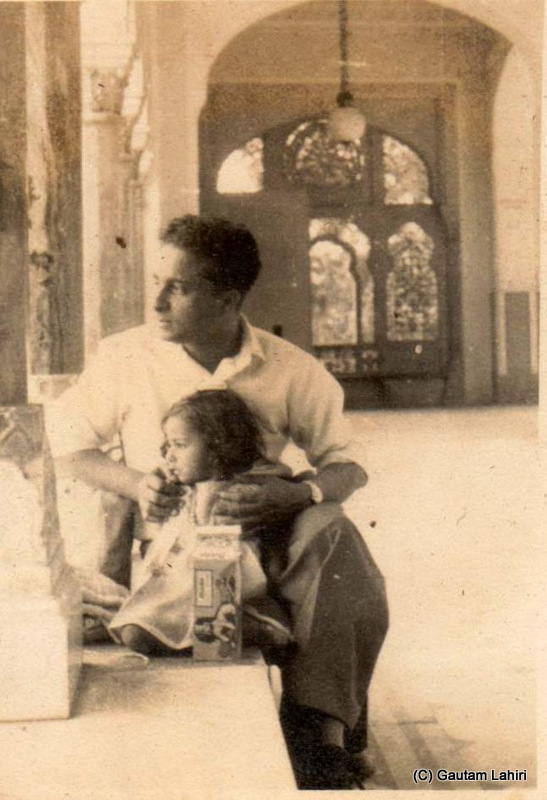 My father, Dinabandhu Lahiri, and little elder sister, Sumita Roy at Uday pur palace, Rajasthan, India by Gautam Lahiri