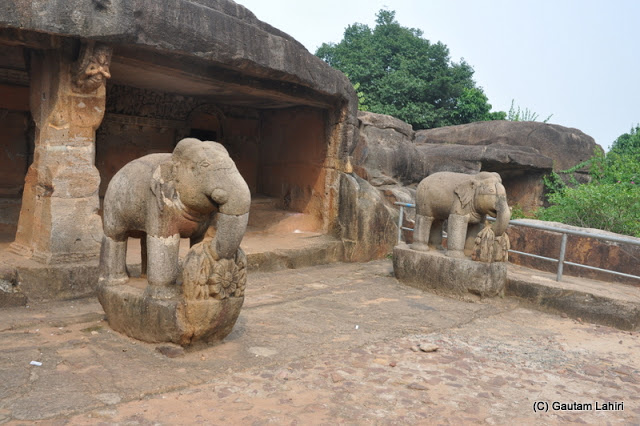 A veranda in front with two solitary elephants are seen holding mango trees with a lotus in the center, perhaps a welcome gesture to the Jain monks  at Bhubaneshwar, Odissa, India by Gautam Lahiri