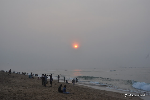The young sun just when it arrived  at Puri, Bhubaneshwar, Odisha, India by Gautam Lahiri