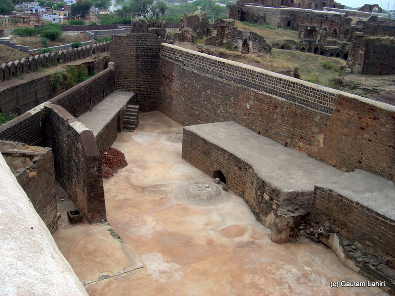 The armory with its tall walls and hard rocky flats helped the soldiers load and reload the cannons to unleash their fire power at Bidar fort by Gautam Lahiri