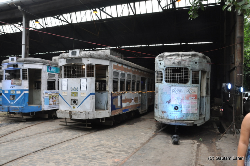 Series of old Calcutta Tramways tram parked at Ballygunge tram terminus, Kolkata, West Bengal, India by Gautam Lahiri