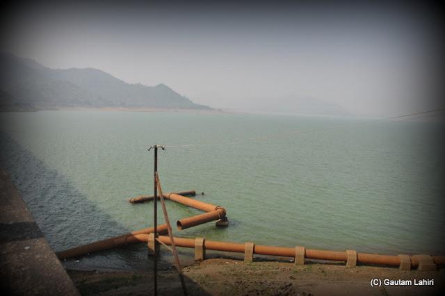 The Massanjore dam reservoir from the bordering road  at Massanjore, Jharkhand, India by Gautam Lahiri