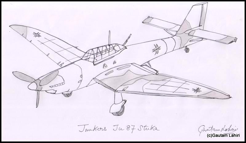 junkers ju 87 stuka 1935, drawn by Gautam Lahiri