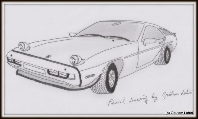 Porsche 928 S, drawn by Gautam Lahiri