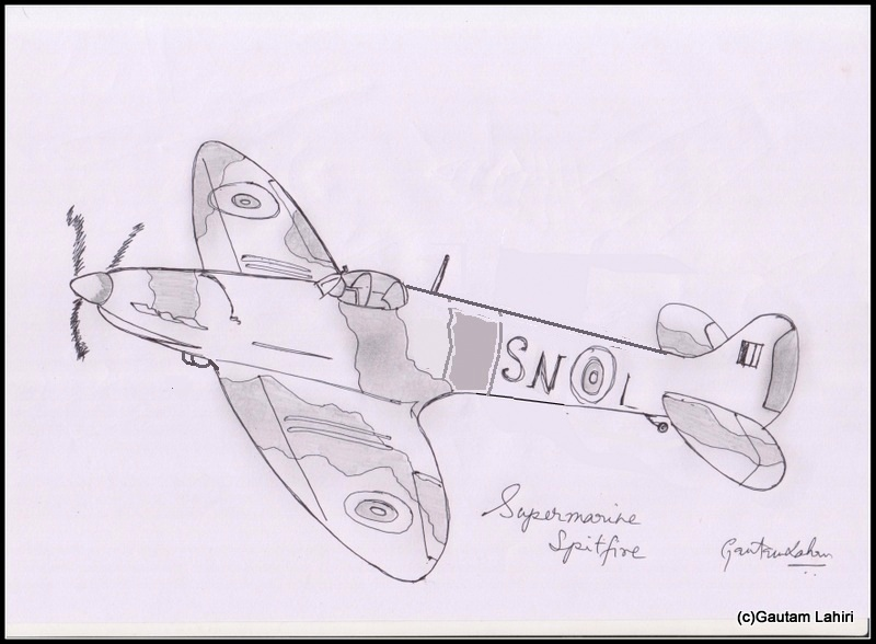 supermarine spitfire 1936, drawn by Gautam Lahiri