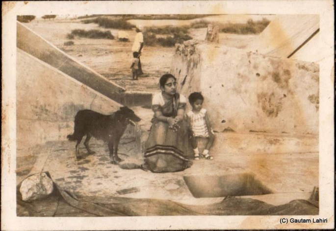 My mother, Tapati, sister, Sumita and our trusted Alsatioan dog, Raju all sitting near a bridge at Jodhpur, Rajasthan, India by Gautam Lahiri