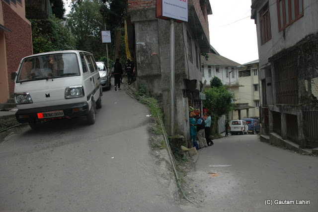 Typical Darjeeling road with sharp turns  at Darjeeling, West Bengal, India by Gautam Lahiri