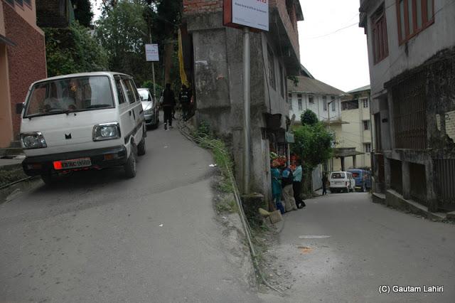 Typical Darjeeling road with sharp turns  at Darjeeling, West Bengal, India by Gautam Lahiri