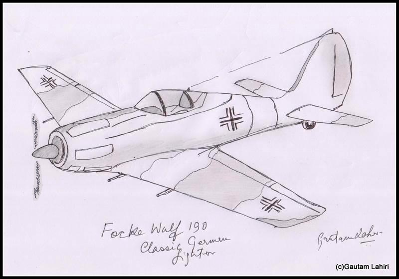 focke wolf 190 1939 drawn by Gautam Lahiri