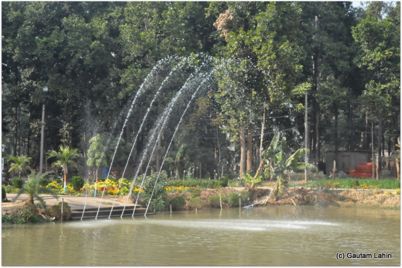 A water mist from the jets hung on the western lake fringe which the swimming ducks constantly wandered at Joypur jungle, Bankura by Gautam Lahiri