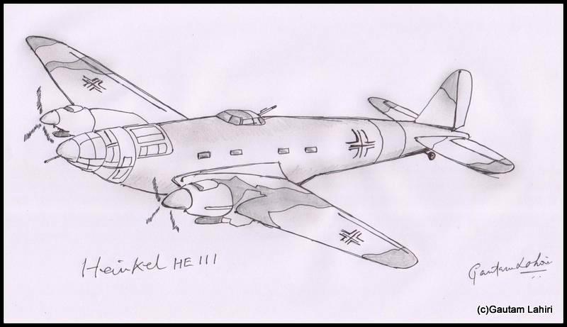 heinkel he 111 1935 drawn by Gautam Lahiri