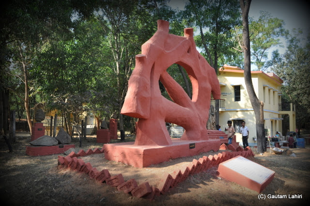 A pink structure on the museum ground  at Santiniketan, West Bengal, India by Gautam Lahiri