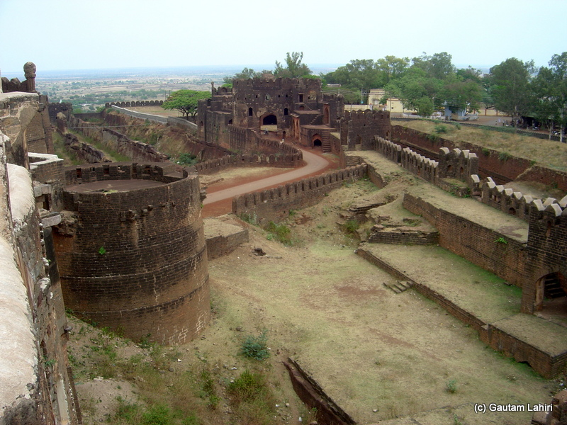 A panoramic view of the fort with its walls, and broken mounds within it that still told the visitor about the fortification it provided to its inmates at Bidar fort by Gautam Lahiri