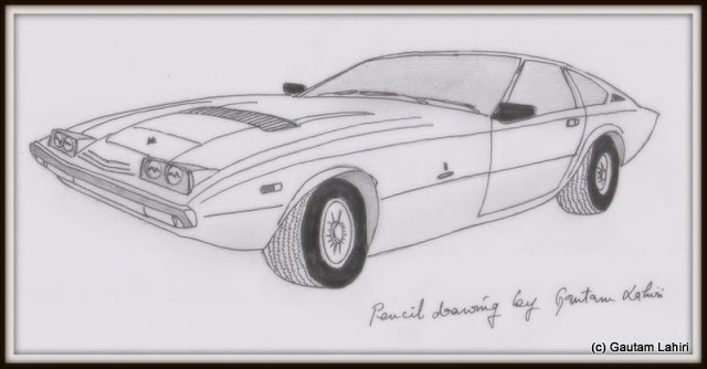 Maserati Khamsin, exuding crisp design from its clean and sharp lines , drawn by Gautam Lahiri