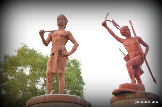 Mud baked figures depicting the tribal history were strewn across the grounds  at Santiniketan, West Bengal, India by Gautam Lahiri