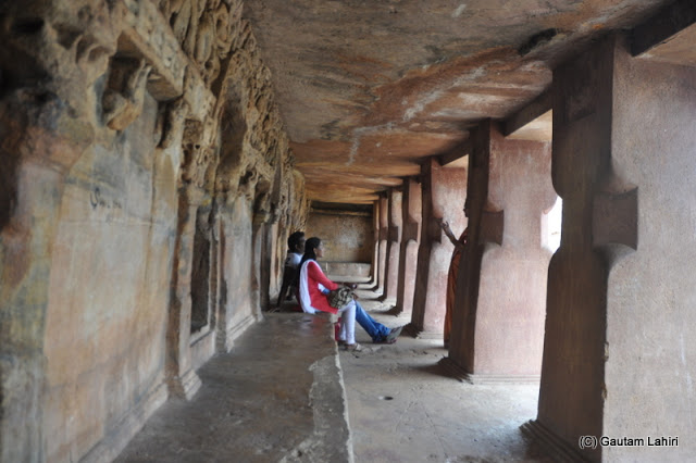 I had to take this picture sitting on the stone bench, and the environment was so cool and calm. I sat there for an hour thinking about the very bench...who sat and built these so many years ago..sheer thought gave me the creeps  at Bhubaneshwar, Odissa, India by Gautam Lahiri