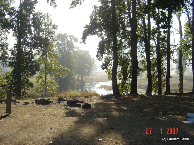 The small stream behind the Kanha museum flowing its way through the forest wastelands at Kanha forest by Gautam Lahiri