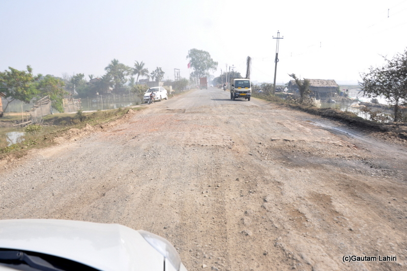 Very bad road from Kolkata to Chandraketugarh taken by Gautam Lahiri