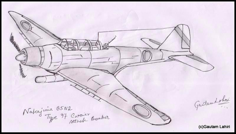 nakajima b5n2 kate 1937, drawn by Gautam Lahiri